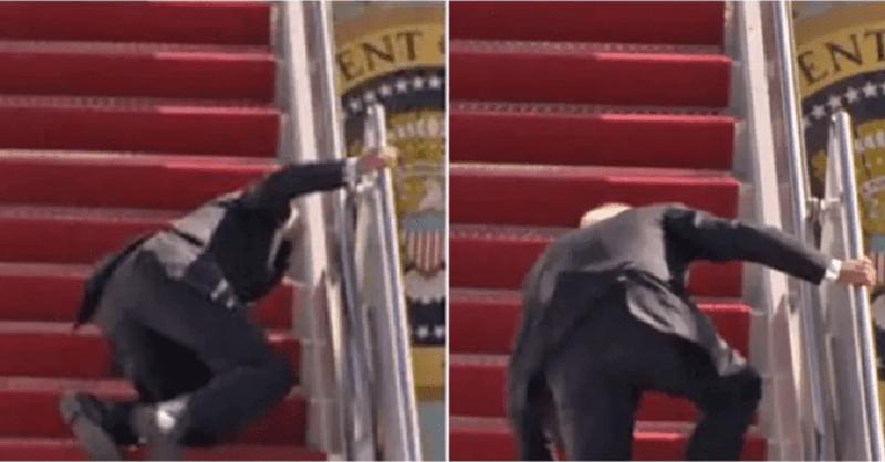 US President Joe Biden, twice lost, footing, Climbing up steps