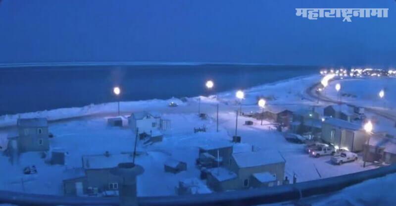 Alaska city, Sunrise after 66 days, Sunset