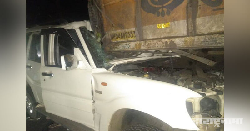 Scorpio car and truck accident in Chandrapur