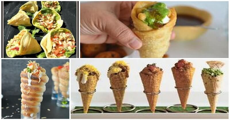 Delicious and chatpata chaat cone