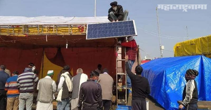 Protesting farmers, Ghazipur border, Solar panels installed